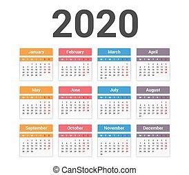 2020 Calendar, week starts on Monday, vector eps10 ...