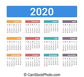 2020 Calendar, week starts on Sunday, vector eps10 illustration