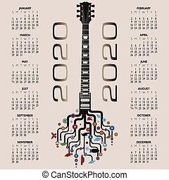 2020 Calendar with a whimsical guitar