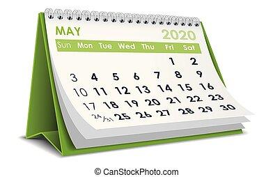 2020, calendario, maggio