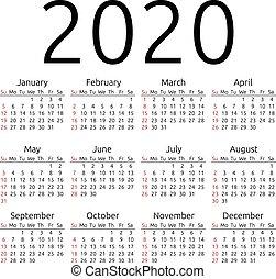 2020, calendario, vector, domingo