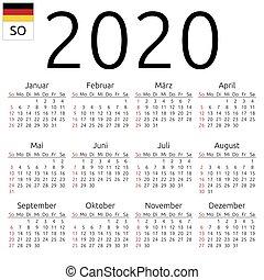 Calendrier Allemand 2020.2020 Calendrier Lundi Allemand Simple Eps Calendar