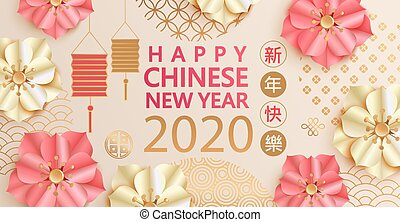 2020, card., felice, nuovo, augurio, cinese, anno