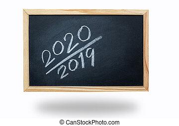 2020 chalk letter on black board on white background