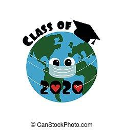 2020, classe, planeta, boné graduação, eart