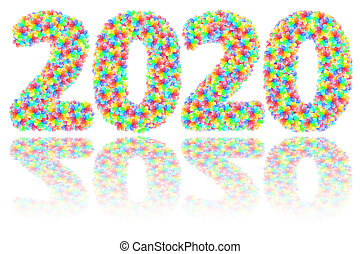 2020 digits composed of colorful glass flowers on glossy white background