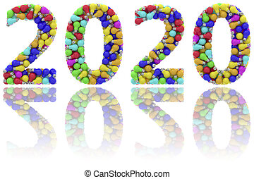 2020 digits composed of colorful lightbulbs on glossy white background