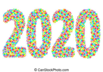 2020 digits composed of colorful stars on glossy white background