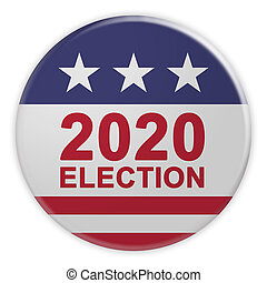 2020 Election Button With US Flag, 3d illustration On White