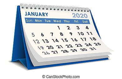 2020, enero, calendario
