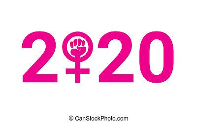 2020, femme, poing, symbole