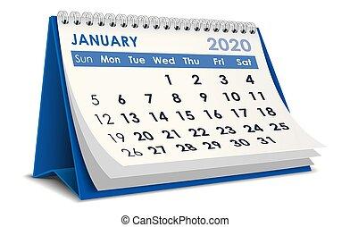 2020, gennaio, calendario