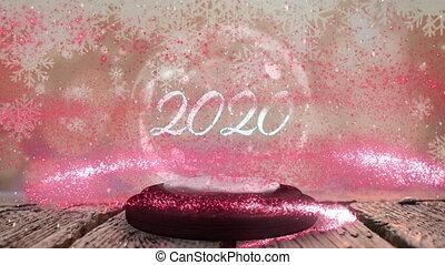 2020, globe, neige
