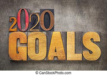 2020 goals banner in wood type