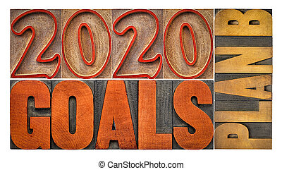2020 goals plan B - word abstract in wood type