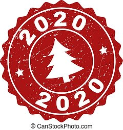 2020 Grunge Stamp Seal with Fir-Tree