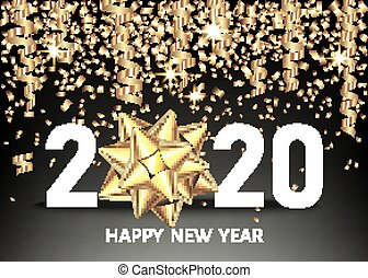 2020 happy New Year black background with golden confetti, bow.