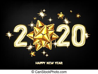 2020 happy New Year black background with golden gift bow.