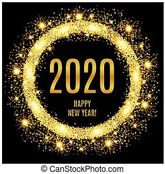 2020 Happy New Year glowing gold background. Vector illustration