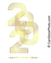 2020 Happy new year. Gold linear numbers. Design of greeting card. Vector illustration