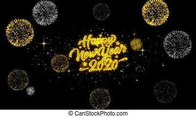 2020 Happy New Year Golden Text Blinking Particles with...
