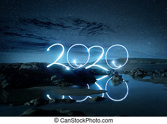 2020 Happy New year Lights Landscape