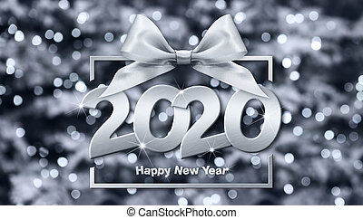 2020 happy new year number text in box frame with silver ribbon bow isolated on christmas blurred lights background
