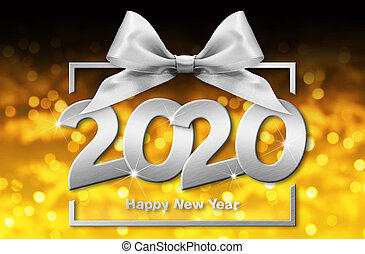 2020 happy new year number text in box frame with silver ribbon bow isolated on golden blurred christmas lights background