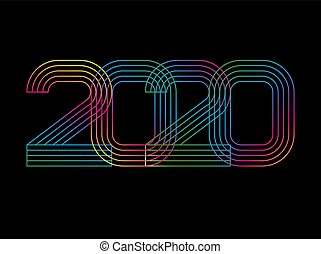 2020 Happy new year. Numbers minimalist style. Vector linear numbers. Design of greeting card. Vector illustration
