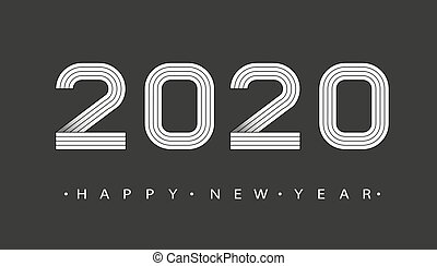 2020 Happy new year. Numbers minimalist style. Vector linear numbers. Design of greeting card. Vector illustration.