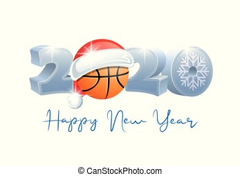 2020. Happy New Year! Sports greeting card. Basketball.