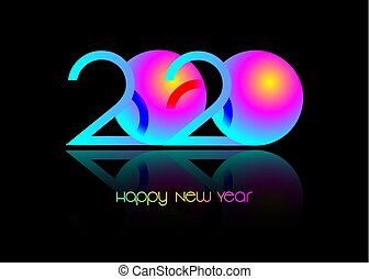 2020 Happy new year, symbol on luminous neon, colorful vector isolated on black background. Abstract card design with neon gradient for party celebration