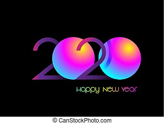 2020 Happy new year, symbol on luminous neon, colorful vector isolated on black background. Abstract card design with gradient for party celebration