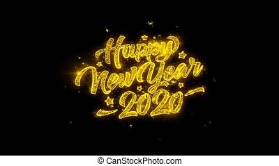 2020 Happy New Year Typography Written with Golden Particles...
