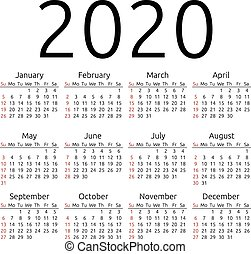 2020, kalender, vektor, söndag