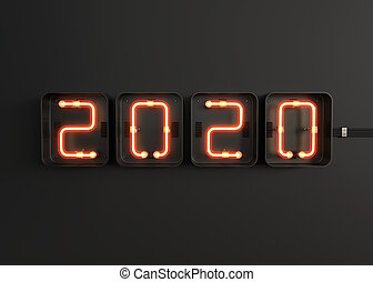 2020 made from neon alphabet