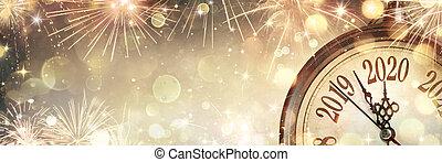 2020, medianoche, nuevo, reloj, fuegos artificiales, año