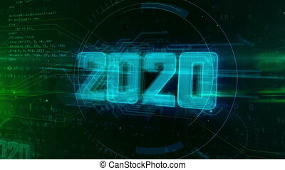 2020 Year of innovation hologram intro on dynamic digital background. Modern and futuristic 3D concept 4K animation.