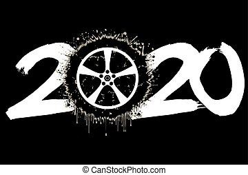 2020 New Year and a car wheel from blots