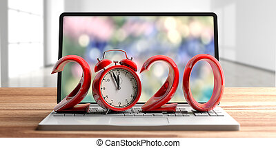 2020. New year and alarm clock, on a laptop, wooden desk, blur empty room background. 3d illustration