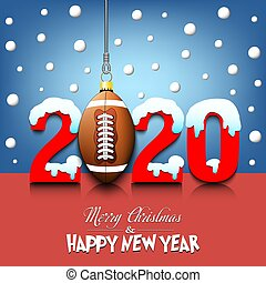 2020 New Year and football ball hanging on strings