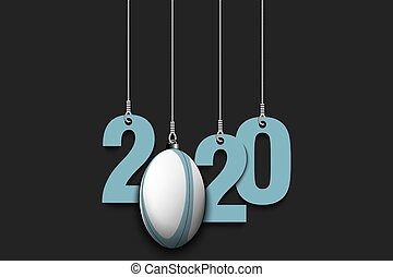 2020 New Year and rugby ball hanging on strings