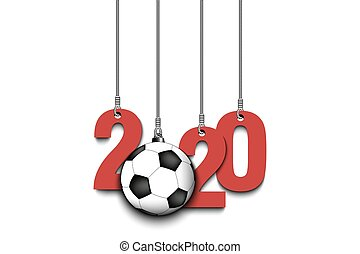 2020 New Year and soccer ball hanging on strings