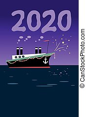 Old steamship in holiday decoration producing number 2020 with steam in night sky, EPS 8 vector illustration