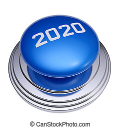 2020 New Year blue button isolated