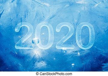 2020 New Year blue ice background