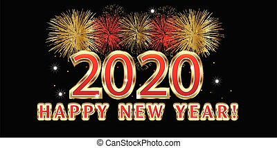 2020 new year fireworks party celebration vector image design background