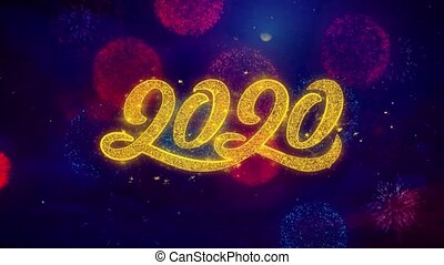 2020 New Year Greeting Text Sparkle Particles on Colored...
