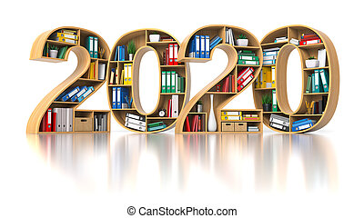 2020 new year in archive or office concept. Shelvs with binders and folders in the form of text 2020.