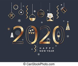 2020 new year minimal banner with gold elements.